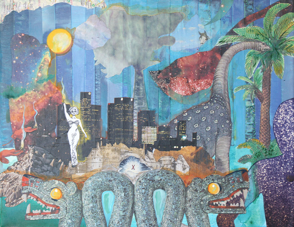 Untitled (Dragon City). Deep Time Space Time Series. 2013. Acrylic and collage on canvas. 15 x 11. Amanda Yates Garcia.