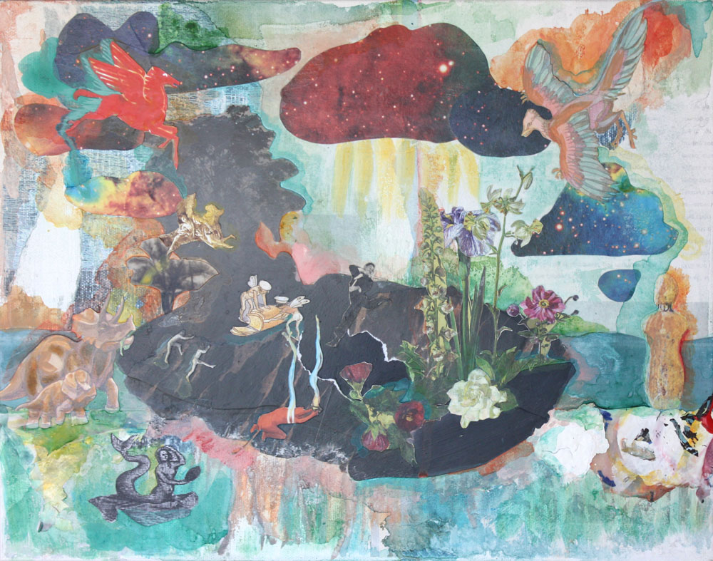 Untitled (Island). Deep Time Space Time Series. 2013. Acrylic and collage on canvas. 15 x 11. Amanda Yates Garcia.