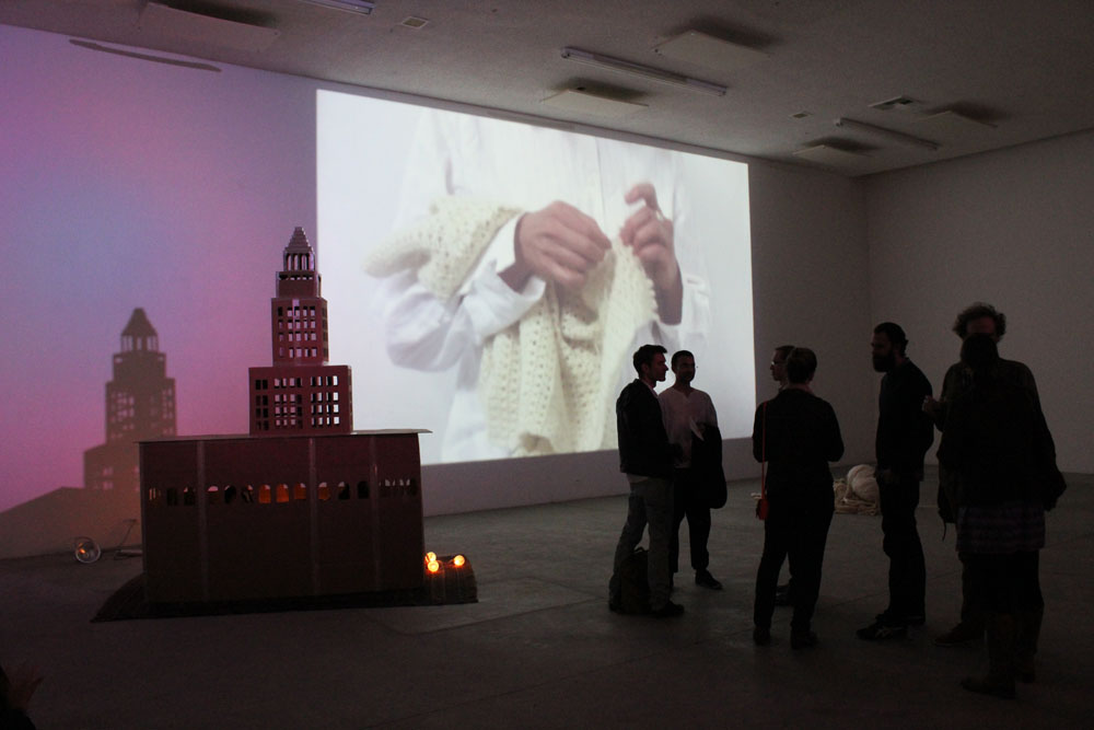 Oracle of Los Angeles: The City Speaks. Shamanic Performance Ritual. February 2013. Jane Brucker's video in the background. Human Resources. Amanda Yates Garcia.